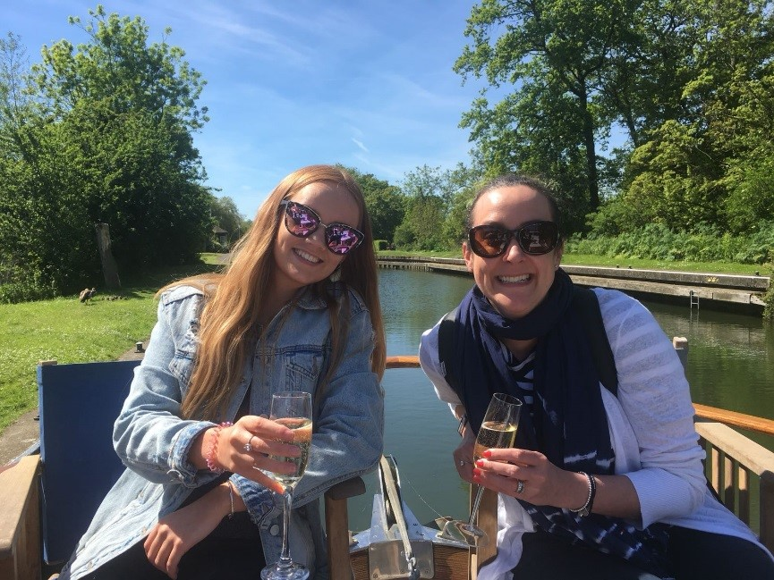 Holly and Jonna Drinking on a Boat on the River