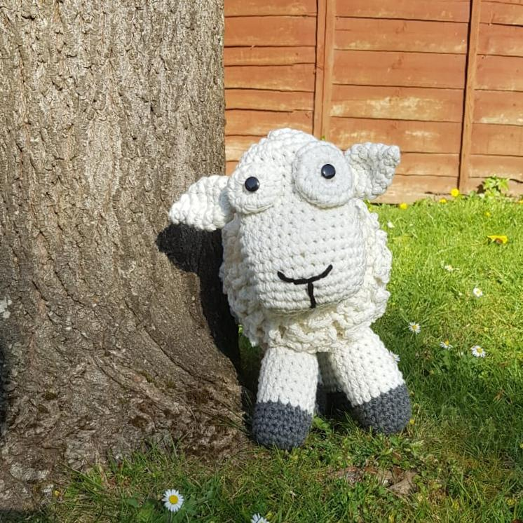 You HR crocheted ewe mascot